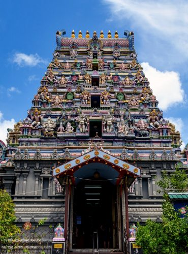 Low angle view of a beautiful Hindu temple in Victoria, Seychelles.